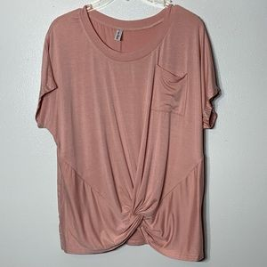 Leo Rosi Blush Baby Pink Knot front Blouse - M